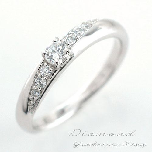 【送料無料】婚約指輪 結婚指輪 レディース ダイヤモンド リング エンゲージリング 指輪 k18 ダイヤモンドリング エタニティ ピンキーリング 18k グラデーション ホワイトゴールド ダイヤ クリスマス Xmas
