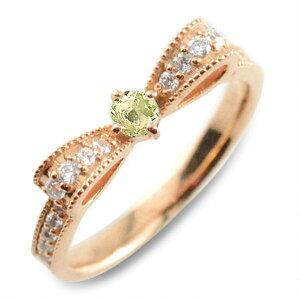 【ポイント5倍】 ぺリドット ピンキーリング リボンリング ダイヤ リボン ダイヤモンド 指輪 誕生石 クラシカル ミルウチ ピンクゴールド k18 18k 18金 ダイヤ 婚約指輪 エンゲージリング 結婚