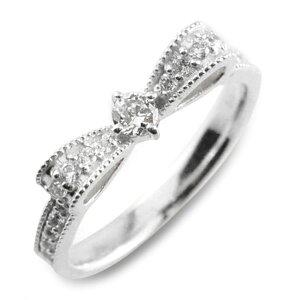 ピンキーリング プラチナ900 リボンリング ダイヤモンドエンゲージリング リボン ダイヤモンドリング 指輪 ダイヤモンド pt900 クラシカル ミルウチ ダイヤ 婚約指輪 エンゲージリング 結婚指