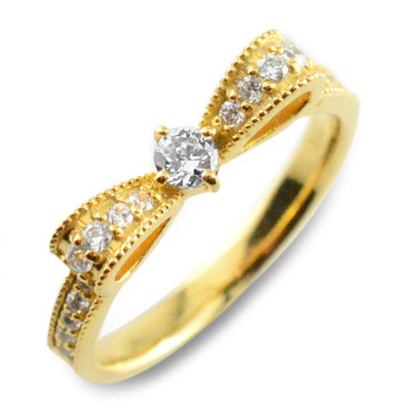 【送料無料】婚約指輪 エンゲージリング 結婚指輪 ピンキーリング リボンリング ダイヤモンドエンゲージリング リボン ダイヤモンドリング 指輪 ダイヤモンド クラシカル ミルウチ イエローゴールドk18 ダイヤレディース【楽ギフ_包装】