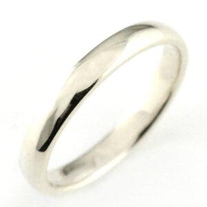 メンズ リング ホワイトゴールドk18 シンプル k18 結婚指輪 エンゲージリング ハンドメイド 甲丸 18k 18金 3mm