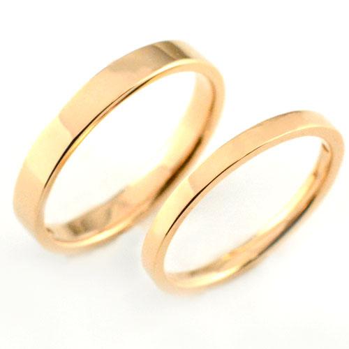 【エントリーでポイント5倍】 【送料無料】婚約指輪 結婚指輪 マリッジリング エンゲージリング ペアリング 18k 平ウチ ピンクゴールド K18 記念日 指輪 石なし レディース メンズ