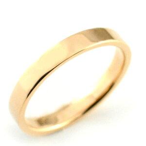 レディース リング ピンクゴールドk18 シンプル k18 ストレート 平打ち 地金リング 結婚指輪 エンゲージリング ハンドメイド 18k 18金 石なし 3mm