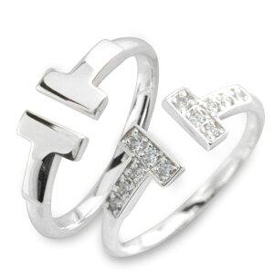 ペアリング ダイヤモンド リング k18 指輪 ホワイトゴールド ダイヤ レディース 華奢 T字 Tモチーフ 18k 18金 ペア 2本 セット メンズ レディース 記念日 指輪