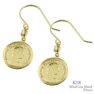 コイン ピアス k18 フックピアス コインタイプ 小さめ エリザベス 10mm コインモチーフ レディース 薄型 18k 18金 ゴールド シンプル 地金 上品 華奢 軽やか かわいい プレゼントに 人気 記念日