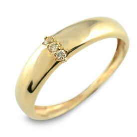 ダイヤモンド リング 指輪 k18 ダイヤ ゴールド ピンキーリング イエローゴールド 18k 18金 華奢 レディース 誕生石 天然石 3石 重ねづけ スリーストーン