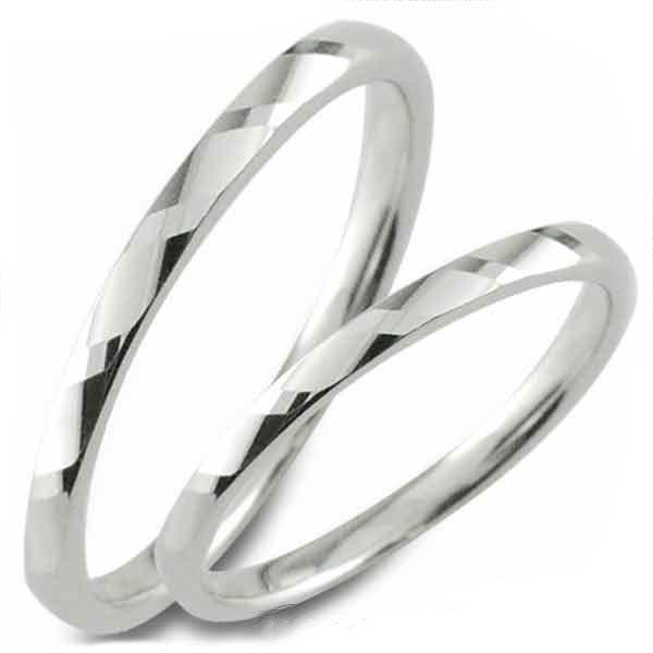 【送料無料】結婚指輪 マリッジリング ホワイトゴールドk18 甲丸 カットリング k18 ペア 2本 セット ペアリング ストレート メンズ レディース 記念日 指輪