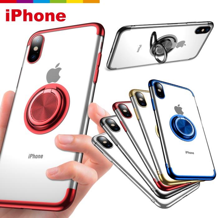 iPhoneXR iPhone8 iPhoneXS iPhoneX ケース スマホリング TPUケース メタリック クリア カラー 透明 カバー 保護ケース iPhone7 8 7Plus 8Plus 6/6s ホールドリング リング付き 軽い 透明 クリアカバー iPhoneケース スタンド スマホケース スマホカバー ソフトケース
