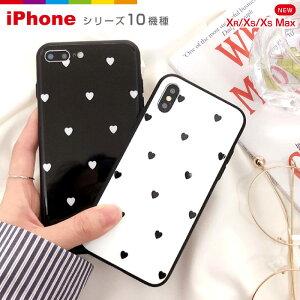 iPhoneケースiPhone8ハートモノクロ背面ガラスケースiPhoneケースおしゃれ海外可愛い強化ガラスiPhone7plusiPhoneXRiPhoneXSMaxスマホケースiPhone8ケースiPhone6s8plus7plusiPhoneX6