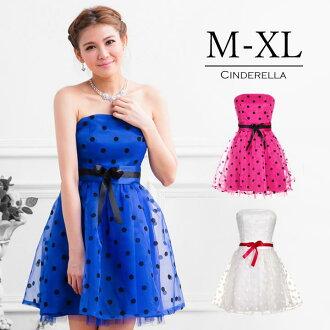 Big Blue & pink & white parties dots wedding mini dress party dress size waist Ribbon short dress polka dot one piece yj2512