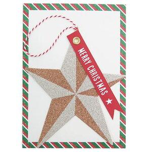 クリスマスカード ダイカットグリッターカード スター APJ Xmas 封筒付き ギフト 雑貨 グッズ メール便可 シネマコレクション
