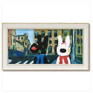 リサとガスパール フレンチ アート 額付ポスター アート フレーム S ワイド いろとりどりのばんそうこう 可愛い ギフト キャラクターグッズ 取寄品 シネマコレクション