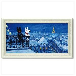 リサとガスパール フレンチ アート 額付ポスター アート フレーム L ワイド パリの天窓から 可愛い ギフト キャラクターグッズ 取寄品 シネマコレクション