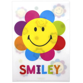 スマイリーフェイス ファイル4シングルクリアファイル フラワー Smiley Face アクティブコーポレーション 事務用品 文具 大人向け キャラクター グッズ メール便可