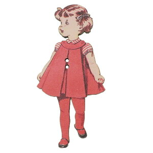 アトリエボヌールドゥジュール 手芸用品 フランス製木製飾りボタン 赤いドレスの女の子 ハートアートコレクション ハンドクラフト おしゃれ 手作り 雑貨 グッズ 通販 メール便可 シネマコ