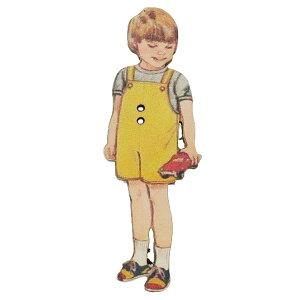 アトリエボヌールドゥジュール 手芸用品 フランス製木製飾りボタン 黄色いパンツの男の子 ハートアートコレクション ハンドクラフト おしゃれ 手作り 雑貨 グッズ 通販 メール便可 シネマ