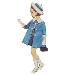 アトリエボヌールドゥジュール 手芸用品 フランス製木製飾りボタン 青いコートの女の子 ハートアートコレクション ハンドクラフト おしゃれ 手作り 雑貨 グッズ 通販 メール便可 シネマコ