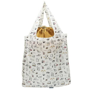 スヌーピー エコバッグ 底板付き ショッピングバッグ おいしい時間 ピーナッツ カミオジャパン 大容量 14L お買い物かばん キャラクターグッズ シネマコレクション