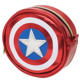 キャプテンアメリカ コスメポーチ メタリック ラウンドポーチ マーベル スモールプラネット ギフト 雑貨 キャラクターグッズ シネマコレクション