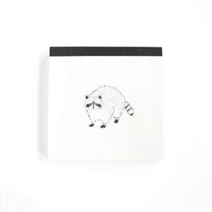 メモ帳 アライグマ スクエア メモ Animal Series アニマル グリーンフラッシュ 4柄100枚 プチギフト シンプルイラストグッズ メール便可 シネマコレクション