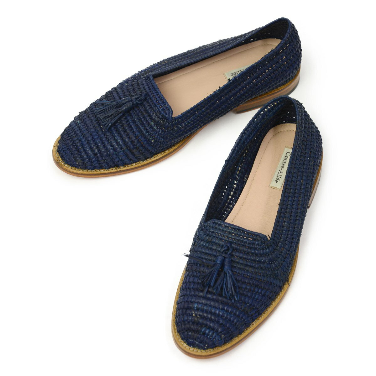 Contre-Allee【コントレアリー】タッセルローファー Souliers GIRONDE Navy ラフィア ネイビー