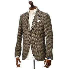 LARDINI【ラルディーニ】 シングルジャケット JS681AQ C55507/200VE ウール シルク カシミヤ ハウンドトゥース ブラウン