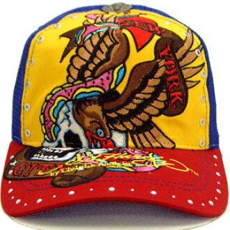 Ed Hardy rhinestone Cap Eagle skull yellow / Royal / Red ED HARDY C54GEM057 with Rhinstone Cap Eagle Skull Yellow/Royal/Red