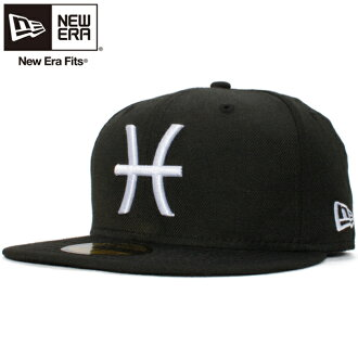 新埃拉5950 kyappuhowaitorogozodiakkupisukesu(双鱼座)黑色白New Era 59Fifty Cap White Logo Zodiac Pisces Black White Glow White