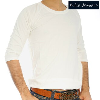 Nudie jeans Q/S T shirt quarter Sleeve Tee off white Nudie Jeans Q/S T-Shirt Quarter Sleeve Tee Offwhite