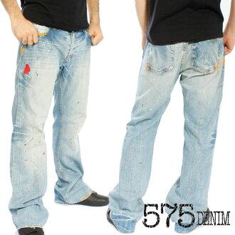ファイブセブンティファイブデニム pants ブルーウォッシュ paint 575 DENIM PANTS BLUE WASH PAINT