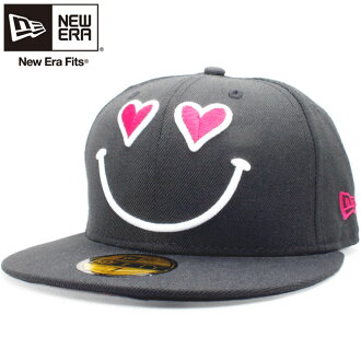 New era Cap 5950 rogovariehtions smile-heart one love black Strawberry New Era 59Fifty Cap Logo Variations Smile Heart One Love Black Strawberry