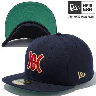 新时代帽 5950 红色标志 NPB 经典广岛 (广岛给你) 鲤鱼 1958年-59 海军金属黄金新时代 59FIFTY 帽红色标志 NPB 经典广岛