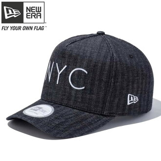 新埃拉940盖子D架子粗斜纹布人字形纽约城市黑色白New Era 9FORTY Cap D-Frame Denim Herringbone New York City Black White