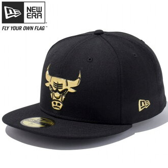 新埃拉5950盖子黄金标识液体铬N B A芝加哥公牛队黑色黄金New Era 59FIFTY Cap Gold Logo Liquid Chrome NBA Chicago Bulls Black Gold