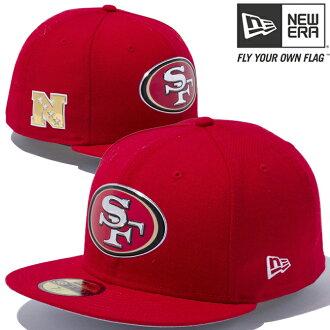 新時代帽 5950 徽標 NFL 自訂熱密封三藩市 49 人隊猩紅色新時代 59Fifty 帽紅色標誌 NFL 自訂熱密封三藩市 49 人隊