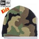 ニューエラ キッズニットキャップ ベーシックビーニー ウッドランドカモ ブラック New Era Kids Knit Cap Basic Beani…