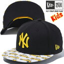 ニューエラ 950 スナップバック キッズ キャップ MLB ニューヨーク ヤンキース イエローキャブ ブラック プリント オンプレゴールド New Era 9...