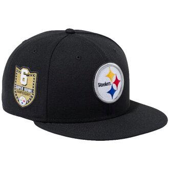新埃拉950突然彈回蓋子NFL特別定做匹兹堡鐵人黑色小隊顔色New Era 9FIFTY Snapback Cap NFL Custom Pittsburgh Steelers Black