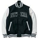 ニューエラ スタジアムジャケット メルトン レザー NEW ERA パッチ ネイビー ホワイト ネイビー New Era Stadium Jacket Melton Leathe…