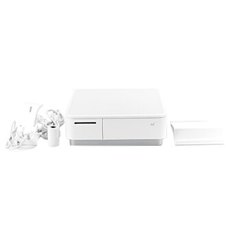Star Micronics Co., Ltd. キャッシュドロア (キャッシュドロワ) built-in thermal printer mPOP series POP10-B1 WHT JP bar code leader bundling USB Bluetooth DK MFi white Star Micronics Cash Drawer with Integrated Thermal Printer mPOP Series POP10-B1 WHT JP Barcode Reader