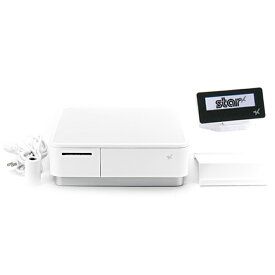 スター精密 キャッシュドロア(キャッシュドロワ)一体型感熱式プリンター mPOP 旧 POP10-OF WHT JP 新 POP10 WHT JP セット(カスタマーディスプレイ付き) USB Bluetooth DK MFi ホワイト Star Micronics Cash Drawer with Integrated Thermal Printer mPOP