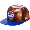 ペプシ×ニューエラ 5950キャップ オールオーバー ペプシパーフェクトロゴ プリント ブルーエナメル ホワイト レッド ブルー Pepsi×Ne…