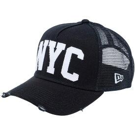 ニューエラ 940 スナップバック キャップ エーフレームトラッカー ダメージ ニューヨークシティ NYC ブラック New Era 9FORTY Snap Back Cap A-Frame Trucker Damaged NYC
