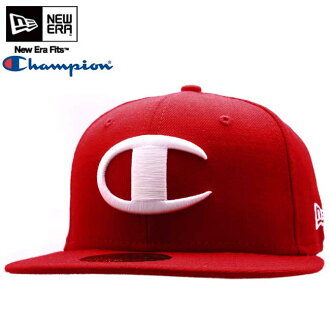 Champion x new era Cap white logo black / white CHAMPION×NEWERA Cap WHITE LOGO Red/White