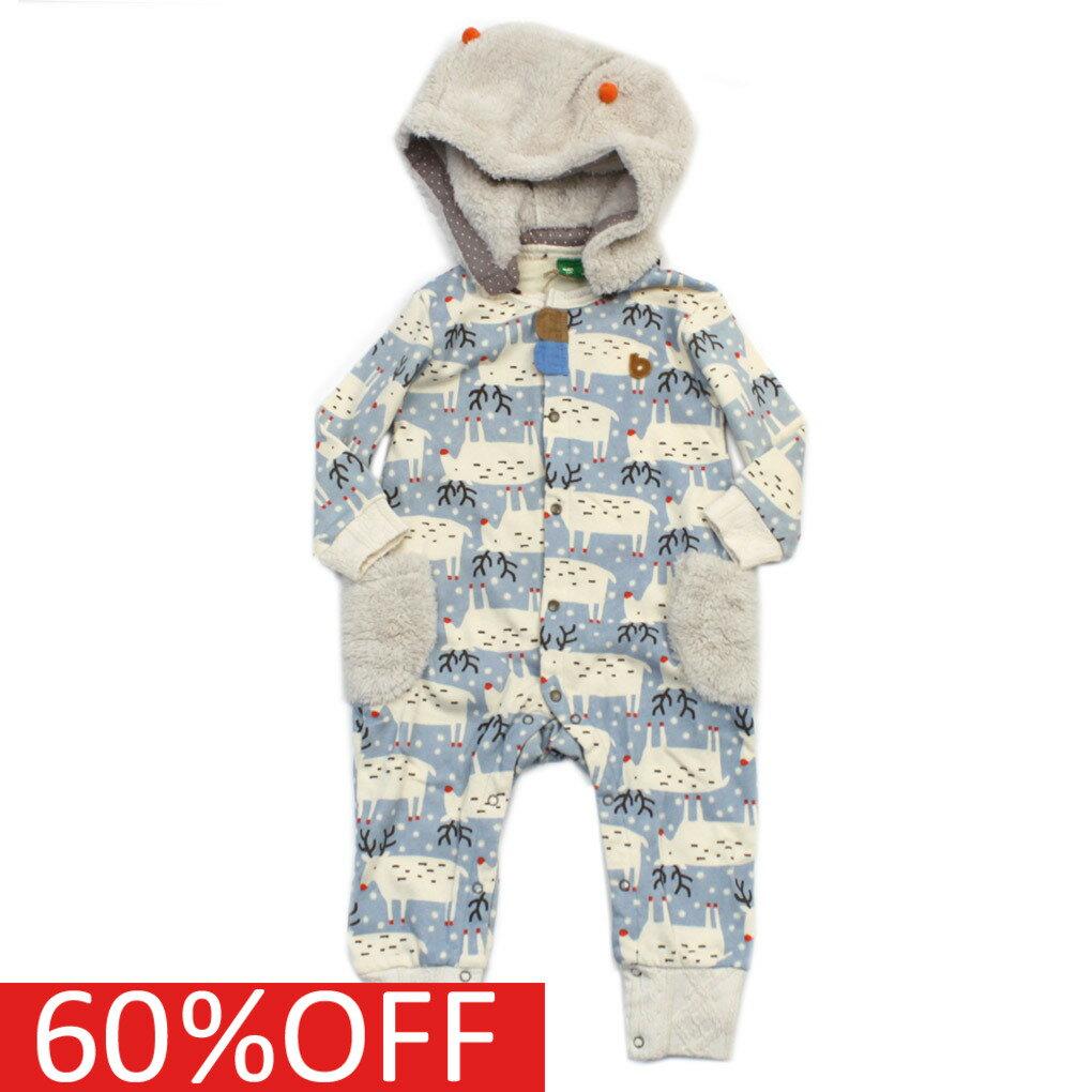 【出産祝い】【RAG MART】【子ども服】【ラグマート】【子供服】 セール 【50%OFF】 トナカイカバーオール ベージュ(BE)