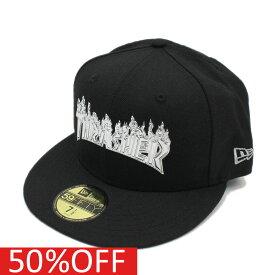 【ニューエラ/メンズ/NEW ERA/ジュニア/帽子/キャップ】 セール 【50%OFF】 59FIFTY THRASHER LIQCHR LOGO CAP ブラック×シルバーa118a174a215a