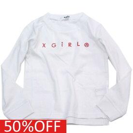 【エックスガール エックスガールステージズ X-GIRL STAGES 子供服】 セール 【40%OFF】 C1NEWロゴロングTシャツ シロ(01)a142a