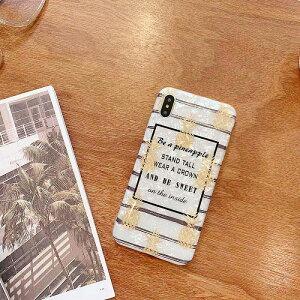 【メール便送料無料】≪大人気フルーツシリーズ≫高級感のあるホワイトのシェルボディが大人女子にぴったり♪お洒落なボーダー&英字にPOPなパイナップル柄のスマホケース iPhone6,6S,6 Plus,
