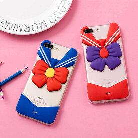 ブルーとレッドの2カラーから選べる♪ちょっと人と違うものが欲しい人にオススメの大きなリボンが目を引くセーラー服スマホケース iPhone6,6s,6Plus,6SPlus iPhone7,7Plus,iPhone8,8Plus
