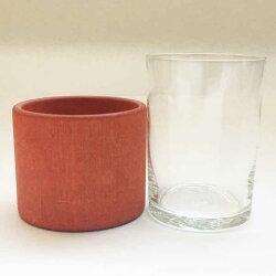 アーリッカaarikkaヴィンテージグラスVintageglassカップホルダー付きオレンジ